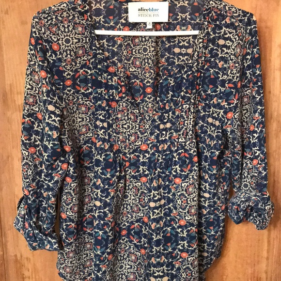 3da1d5260ea Alice Blue Tops - Alice Blue for Stitch fix boho navy floral top